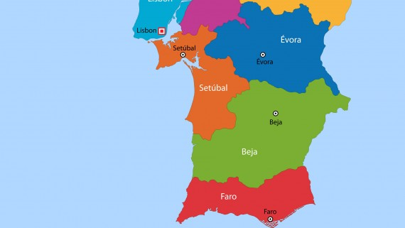 Political map of Portugal: southern zone