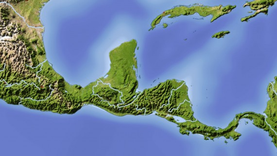 Map rivers of Central America