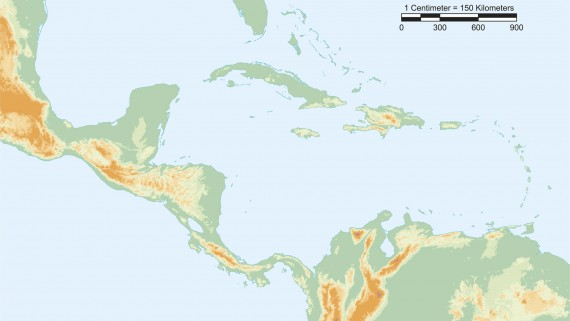 Physical map of Central America with scale