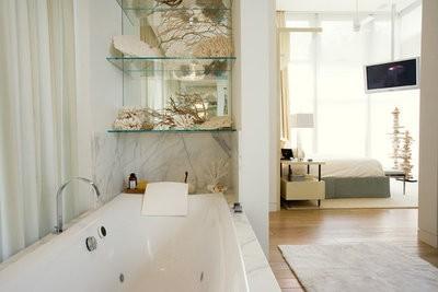 ritz hotel room with bathroom