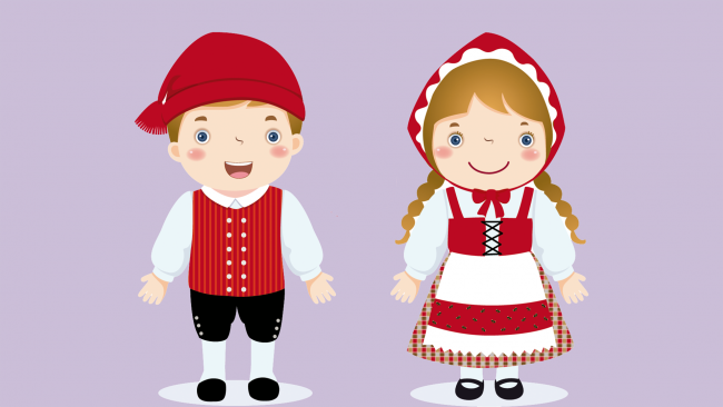 Drawing of children with traditional costume of Denmark