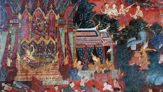Art of India depicted in the Temple of Suphanburi Province, Thailand
