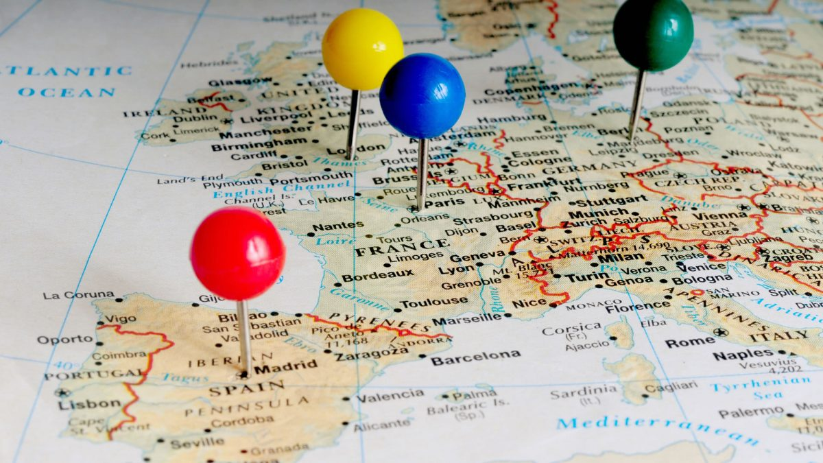 List with all Ryanair destinations from Spain