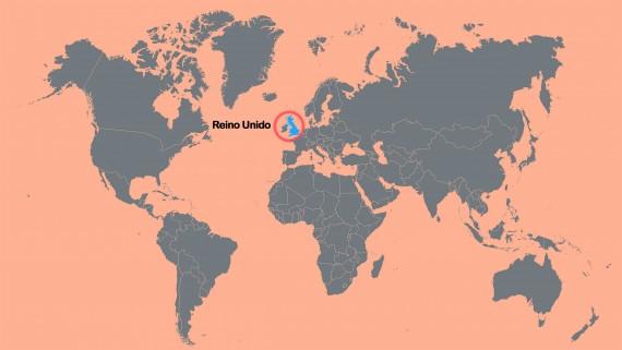 World map pointing United Kingdom