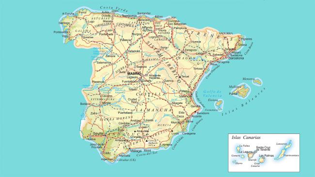 Cartina Spagna Orientale.Mappa Stradale Della Spagna It Versiontravel Com