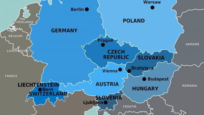 Map of the countries of Central Europe