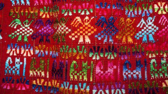 Representative drawings of nature in traditional costumes of Guatemala