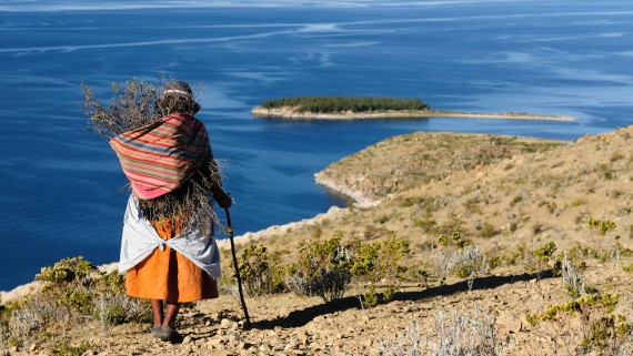 Woman with chola costume on Isla del Sol, Bolivia