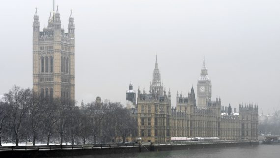 The London Parliament in winter