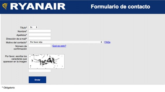 Ryanair contact form