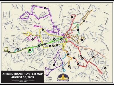Carte des bus d'Athènes