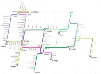 Train map to Granada