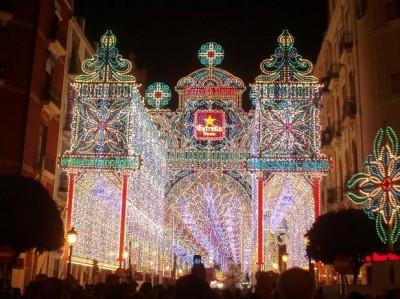 Illuminated Street in Fallas