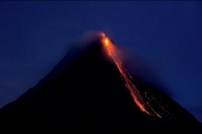 Arenal Volcano night eruption