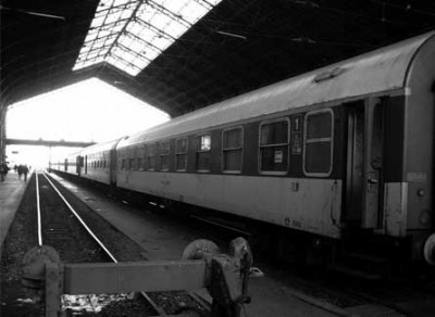 Shot of a train in black and white