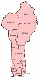 Map of Benin with its provinces