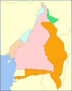 Map of Cameroon between 1911 and 1916.