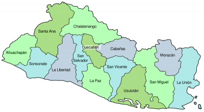 map San Salvador and its departments