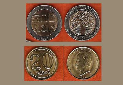 Colombian pesos coins