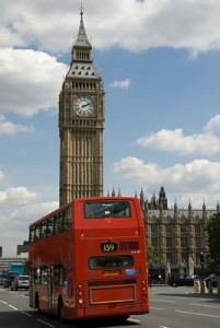 London bus passing through Big Ben