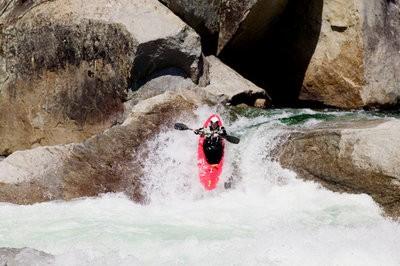 Kayaking descent carefully