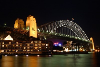 The Harbor Bridge at night