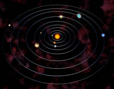 The solar system in a planetarium