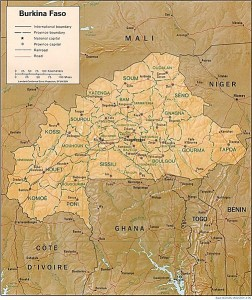Burkina Faso, Map with Borders