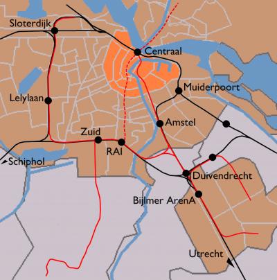Amsterdam train map